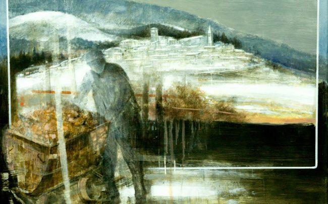 Paolo Fedeli, Il minatore di Castell'Azzara, tecnica mista su tela, 1 PREMIO Concorso di Pittura Estemporanea Miniere e Paesi Minerari
